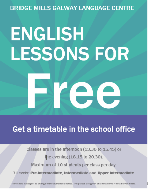 Free afternoon English lessons available Friday 25/05/18 @13.45. Three levels are on offer - Pre-intermediate, Intermediate & Upper intermediate! Take advantage of them and join for free!!! Spread the word and share this post with your friends!